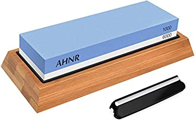 Whetstone Knife Sharpening Stone Dual Sided 1000/6000 Grit Waterstone, AHNR Premium Kitchen Knife Sharpener Whetstone Kit with NonSlip Bamboo Base & Angle Guide for Kitchen/Pocket Knives/Blades