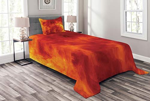 ABAKUHAUS Oranje Bedsprei, Brand en Vlammen, Decoratieve Gewatteerde 2-delige Spreiset met 1 Kussensloop, 170 x 220 cm, Oranje Geel