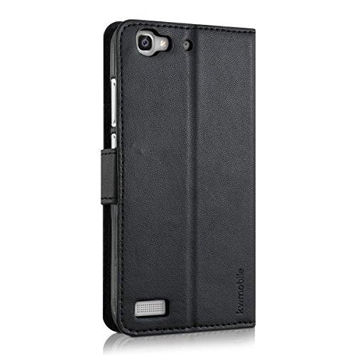 kwmobile Huawei GR3 / P8 Lite SMART Hülle - Kunstleder Wallet Case für Huawei GR3 / P8 Lite SMART mit Kartenfächern und Stand - Schwarz - 3