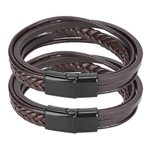 Pulsera de moda vintage, pulsera de cuero Pu casual de aleación de zinc, familiares para amigos, recuerdos de viaje, ferias comerciales(Brown leather black buckle)