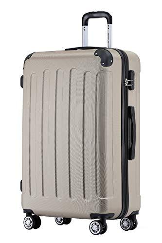 BEIBYE Hartschalen-Koffer Trolley Rollkoffer Reisekoffer Handgepäck 4 Rollen (M-L-XL-Set) (Champagner, XL)