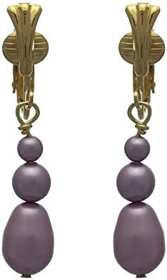 PORTIA Gold Plated Powder Rose Glass Bead Clip On Earrings