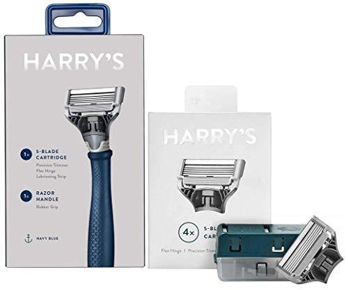 Harry's Truman Navy Rasierer + Klinge gebündelt mit Harry's Rasierklingen Nachfüllpackung, 4 Stück
