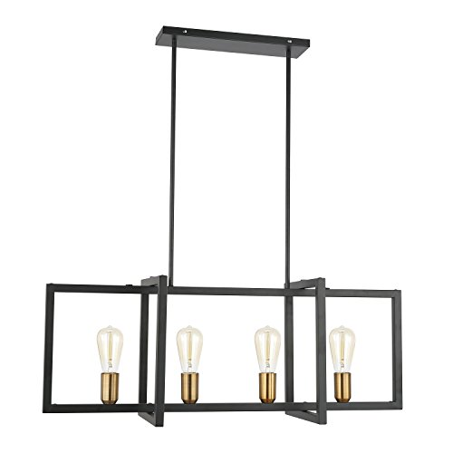 Light Society Paradigm 4-Light Kitchen Island Pendant, Matte Black with Antique Brass Finish, Geometric Modern Industrial Chandelier (LS-C249-BK)