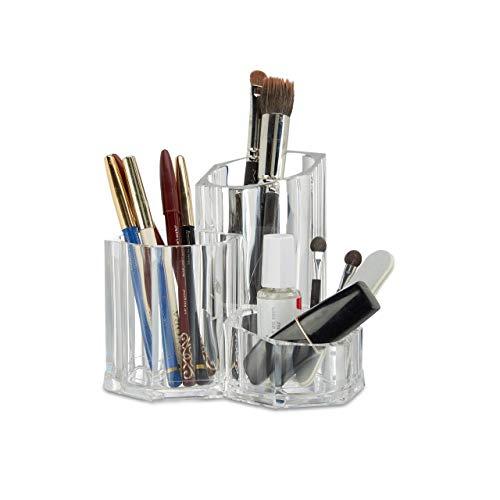Relaxdays Porte-pinceaux pour maquillage organiseur cosmétique porte-brosse 3 pièces acrylique, transparent