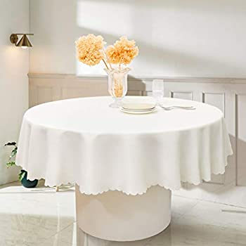 RUIBAO HOME Round Table Cloth Waterproof Oil Proof Wrinkle Resistant Washable Polyester Tablecloth for Dining Table Kitchen 90 inch Titanium White(90IN, Titanium White)