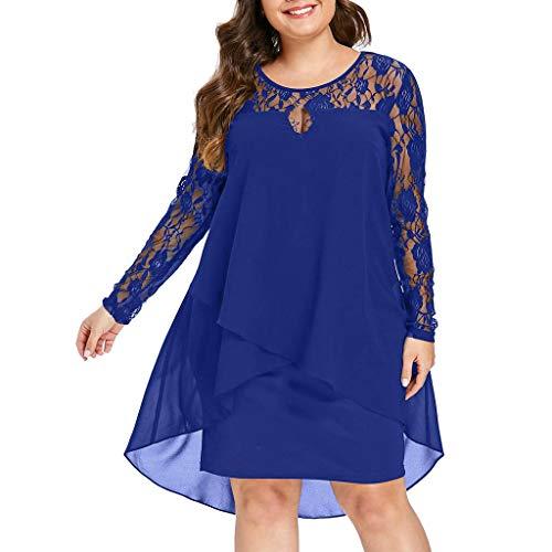 Vectry Vestidos Elegantes Mujer Vestidos Mujer Vestidos Largo De Elegante Vestidos Casual De Mujer Primavera Vestidos Fiesta Coctel Vestidos Playa Mujer (-Azul, XXL)