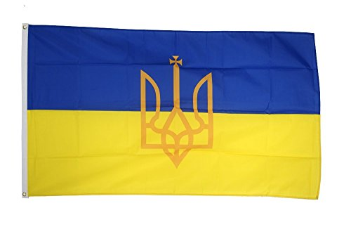 Flaggenfritze Fahne/Flagge Ukraine mit Wappen + gratis Sticker