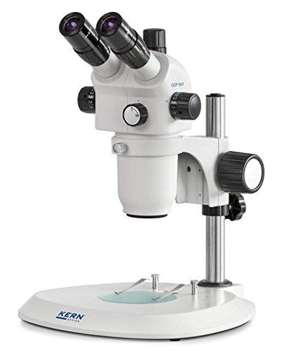 Stereo-Zoom Mikroskop [Kern OZP 557] Das Hochwertige für flexible und professionelle Anwender, Tubus: Trinokular, Okular: HSWF 10x Ø23 mm, Sehfeld: Ø38,3-4,2 mm, Objektiv: 0,6x - 5,5x, Ständer: Säule