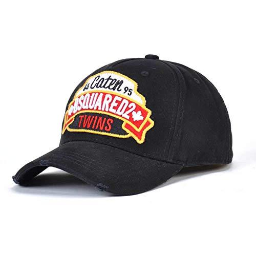 Dsq Campaña Gorra de béisbol Gorra De Béisbol De Verano De Algodón DSQUARED2 Hat De Camionero para Hombre, Ajustable De 57-59 Cm(Color:Negro)