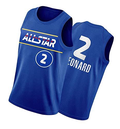 PTELEA Hombres Fitness Clipper Baloncesto Tops Moda Leonard Jersey #2 Azul, azul, S
