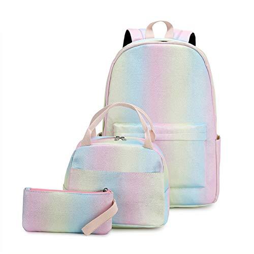 Estudiante de bolsa de escuela Mochila de la escuela de la escuela de las niñas adolescentes para las mochilas resistentes al agua ligera para las niñas adolescentes con la bolsa de almuerzo y la caja