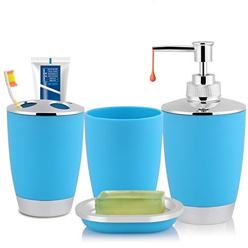 Liineparalle 4 Unids/Set Accesorios de Traje de baño para el hogar Incluye Jabonera Portacepillos de Dientes Taza de Enjuague bucal Dispensador de champú Accesorios de baño(Azul)