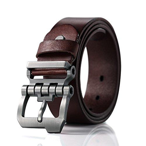 Teemzone diseño Sencillo de Hebilla Rueda Dentada Cinturón Piel de F