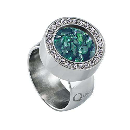 Quiges Silber Edelstahl Ring mit Zirkonia 12mm Mini Coin Halter Wechselring und Austauschbar Blaue Flocken Muschel Coin in Größe 19mm