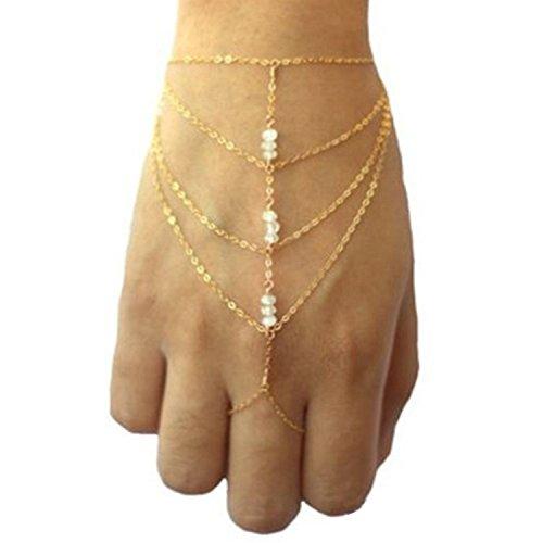 Small dimple Celebrity Elegant Harness Tassel Slave Chain Link Finger Ring Bracelet Hand Chain (A)