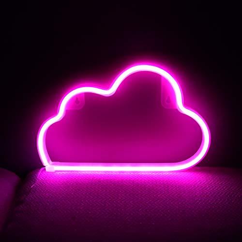 Neon-Schilder-Lichter mit batteriebetrieben/USB-Wolken-Lampe, Wanddekoration für Kinderzimmer, Schlafzimmer, Halloween, Weihnachten, Party (Pink)