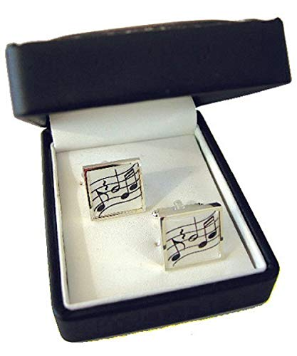 Music Gifts Company: Silver Plated Square Cufflinks - Music (Gift Boxed)