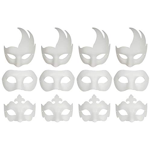 CSPRING 12PCS Cute Paper Face Paintable White Plain DIY Mask for Mardi Gras Cosplay Masquerade Dance Party