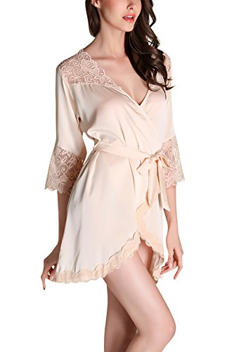 Dolamen dames ochtendjas Kimono kort, 2018 luxe kant glad satijn nachtkleding badjas Robe Kimono negliggee zijdenrobe losjes pyjama