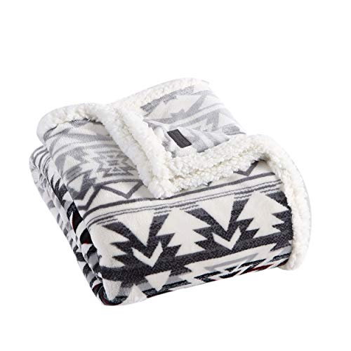 Eddie Bauer Home Collection | Throw Blanket-Reversible Sherpa Fleece, Ultra Plush & Luxuriously Warm, Machine Washable, Clyde Hill Stripe