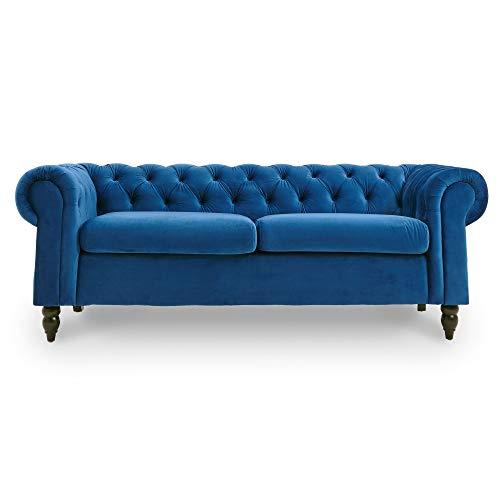 DecoInParis Chesterfield - Sofá de 3 plazas de Terciopelo Winston