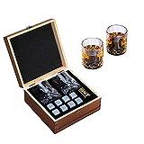 Conjunto de regalo de whisky Gafas de whisky tradicional que incluyen 8 piedras reutilizables de whisky. Juego de regalo de whisky perfecto para hombres, regalo para