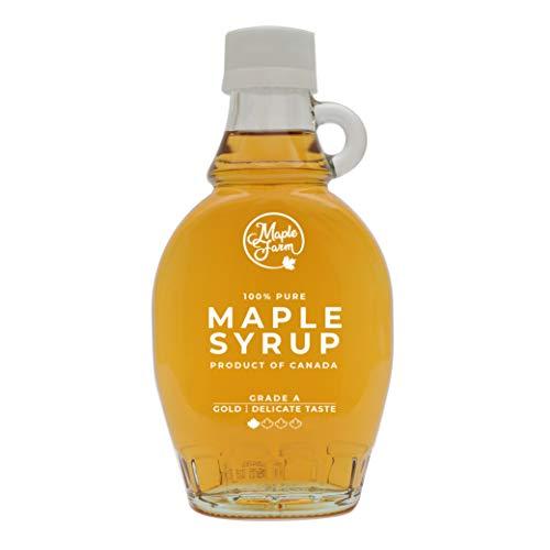 Jarabe de arce Grado A (Golden, Delicate taste) - 189ml (250g) - Miel de arce - Sirope de Arce - Original maple syrup