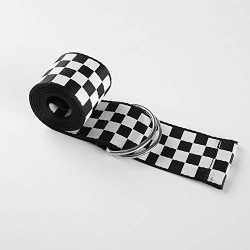 Welltobuy Cinturón a Cuadros Mujeres Hombres Cinturón a Cuadros Casual Cintura Doble Anillo en D Hebilla Plateada Cinturón a Cuadros en Blanco y Negro Idea para Mujer Regalo 135cm