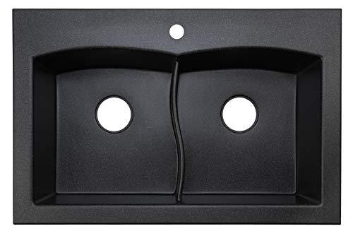 """33"""" Black Kitchen Sink Lavello Subito 200T - Kitchen Sinks Drop In - Double Kitchen Sink - Granite Sink - Drop In Kitchen Sink - Composite Sink - Top Mount - Double Bowl"""