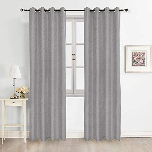 """FULAN Jacquard Curtains 84"""" Length 2 Panels, Grey 100% Blackout Blocky Abstract Design Natural Linen Textured & Thermal Insulated for Bedroom/Living Room(52x84 Grey)"""