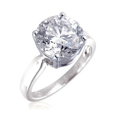 5.00ct brillante rotondo incastonato diamante solitario anello di fidanzamento in oro bianco 18K e 18k oro bianco, 58 (18.5), cod. XYR7020(WG) Q