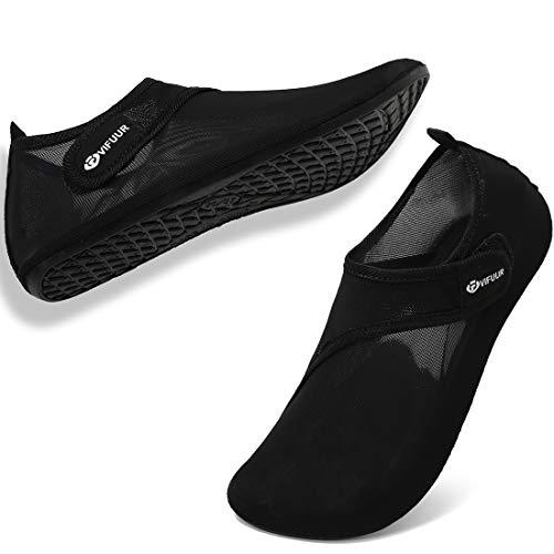 VIFUUR Zapatos de Agua Hombres Mujeres niños Aqua Yoga Descalzos de Secado rápido Slip-en los Calcetines Negro EU42/43