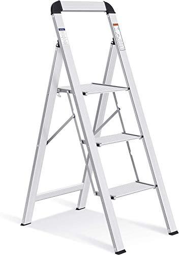 キングラック アルミ踏み台 脚立 3段 折りたたみ 持ち手付き はしご 軽量 幅広 上枠付き ステップ台 高さ113.8cm WK3003-3F