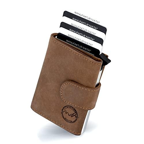 POP-UP Kreditkartenetui | TÜV geprüfter RFID NFC Schutz | Wallet für 10 Karten und Fach für Scheine | für Damen und Herren mit gratis Geschenkbox | Braun