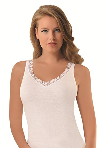 NBB Womens Sexy Basic 100% Cotton Tank Top Camisole Lingerie with Stretch,White,Medium