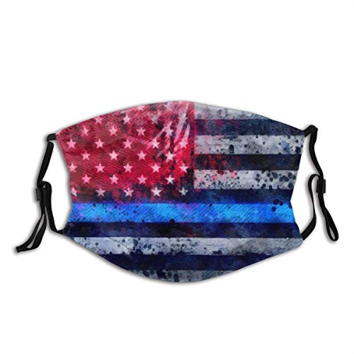 Support Police Thin Blue Line American USA Flag Cloth Face Mask with Filter Pocket Reusable Washable Protection