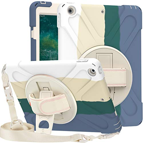 SsHhUu iPad 8th/ 7th Generation Case, iPad 10.2 Case 2020/2019, Heavy Duty Protective Rugged Cover with Hand Shoulder Strap, Kickstand, Pencil Holder for iPad 8th 7th 10.2 2020 2019, Rainbow Green