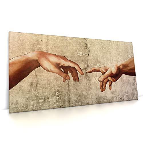 CanvasArts Michelangelo, Hände - Leinwand Bild auf Keilrahmen - Sixtinische Kapelle Reproduktion (80 x 40 cm, Leinwand auf Keilrahmen)