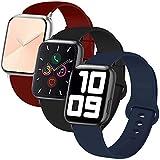 INZAKI Correa de Apple Watch 42mm 44mm, Reemplazo de Silicona Deportivo clásico Suave para iWatch Series 6/5/4/3/2/1, SE, Sport,S/M, Negro/Azul Noche/Wine Red
