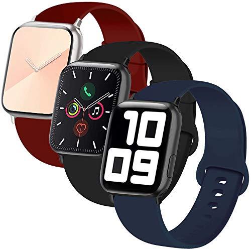 Inzaki, cinturino di ricambio per Apple Watch, 38 mm, 40 mm, 42 mm, 44 mm, in morbido silicone, sportivo, per iWatch Serie 5/4/3/2/1, Nike+, Sport, Edition, S/M, M/L, Confezione da 3 colori: nero/blu/rosso vino., 38mm/40mm S/M