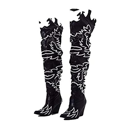 Cape Robbin Kelsey-21 Cowboy Boots Women, Over The Knee Western Cowgirl Boots with Chunky Block Heels, Fashion Dress Boots for Women - Black Size 6.5