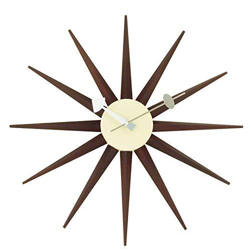 Nelson Wanduhr, Klassische Sunburst Uhr, Antike Stille Quarzuhr Aus Holz, Retro Hauptdekoration, Importiertes Walnussholz
