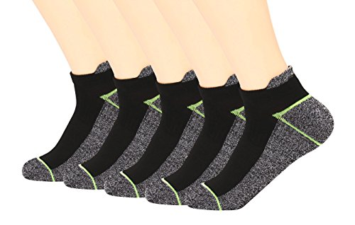 Copper Infused Athletic Low Cut Socks for Mens and Womens - Moisture Wicking Ankle No Show Socks with Tab 5 Pairs(green, large)