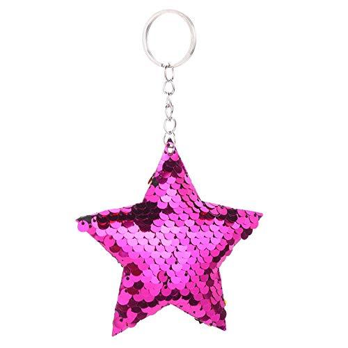 Llavero de metal con lentejuelas brillantes para mujer, ideal para cualquier ocasión, para bolsos, maletas, mochilas, accesorios., morado, B