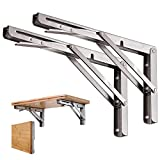 Folding Shelf Brackets 12 inch,Bethom Stainless Steel Floating Shelf Bracket Heavy Duty Wall Mounted Table Support Hinge Collapsible Shelving Brackets for DIY Table Work Bench Max Load 330 lb,2 Pack