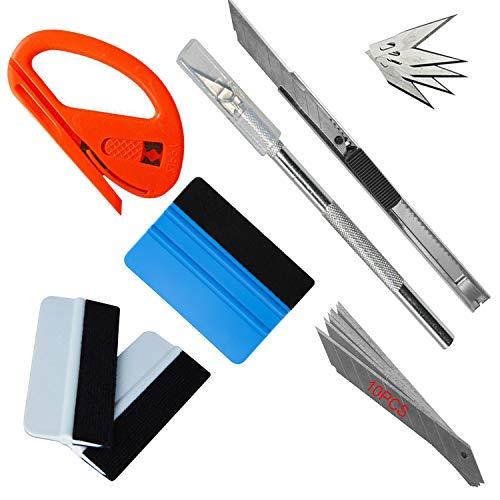 Hengda Rakel Set 7Stück Folien Werkzeug Set Universalmesser mit 10 Klingen Vinyl Fahrzeug Glas Schutzfolie Wrapping Tint Werkzeuge für Autofolierung Installation