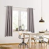 Blumtal 2er-Set Gardinen Verdunkelungsvorhang Blickdicht - Eleganter Vorhang mit Ösen für Schlafzimmer, 175 x 140 cm, Grau - 5
