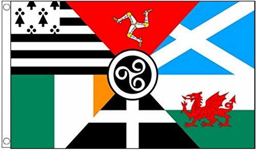 Pan Celtic Nations (Bretagne, Isle of Man, Schotland, Ierland, Cornwall, Wales) polyester vlag van 150 cm x 90 cm