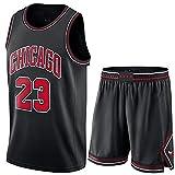 Camiseta Baloncesto Jersey NBA Hombres De Michael Jordan # 23, Transpirable Resistente Al Desgaste Bordó La Camiseta De La Camiseta + Pantalón Corto, XS-XXL, FHI012IHF (Color : Black, Size : L)